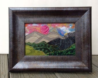 Romantic Evening - Fabric Mountain Sunset - Rustic Art - Quilted Postcard - Mountain Landscape - Gift for Her -  Vacation Memory - Cabin Art