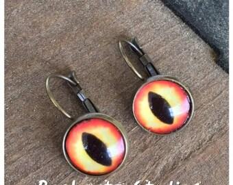 1 Set of Glass Cats Eye Earrings 12mm Antique Brass Jewelry Eyeballs Leverback Dangle Dragon Creature Serpent Orange Yellow