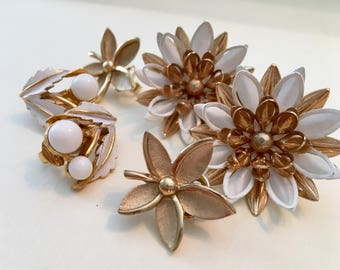 Vintage Earrings - Clip On Earrings - Collection of 3 Pair - Trifari Sarah Coventry Rapallo - 1960s 1970s Swag - White Enamel - Gold Tone