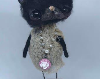 Kambell the black cat Ooak art doll