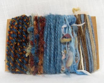 Art Yarn Bundle Blue Brown Yarn Scraps Weaving Fiber 1583