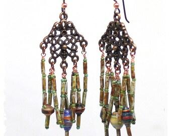 Bollywood chandelier statement earrings, Rustic boho earrings, Gypsy earrings, Festival earrings, Beaded cluster earrings, Neutral earrings