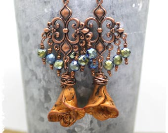 Copper Flower Earrings, Gypsy Chandelier Earrings, Rustic Bohemian Earrings, Urban Tribal Jewelry, Folk Art Earrings, OOAK, Gift for Her
