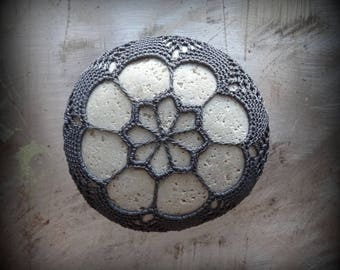 Lace Stone, Crocheted, Table Decorations, Original, Handmade, Home Decor, Charcoal Gray, Collectible, Monicaj