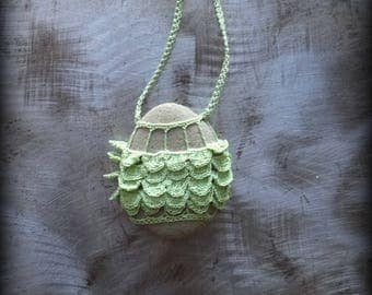 Sale, Artist Necklace, Crocheted Lace, River Stone, Gift Original, Light Green, Ruffled Layered, Handmade, Nature, Unique, Bohemian, Monicaj