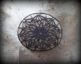 Crocheted Stone, Handmade, One of a Kind, Unique Decorative Doily, Rock, Charcoal Thread, Bohemian, Beach, Small, Fiber Art, Collectible
