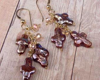 TRINITY CROSS - OOAK One Of A Kind - Mauve Cross Pearl, Crystal, Cascade Earrings