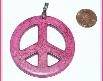 Huge Pink Turquoise Magnesite Peace Sign Pendant