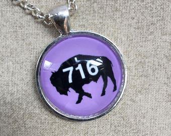 716 Buffalo NY Necklace - Long Necklace - Buffalo Jewelry - Buffalo NY - Buffalove - Buffalo Gift - Lilac Buffalo - Buffalo Pendant