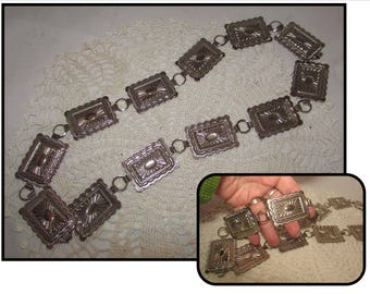 Vintage Silver Tone Conch Belt, Rectangles, Ladies Small, Southwestern