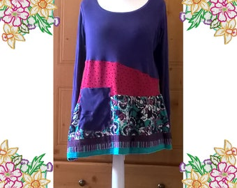 M-L. Pink and purple funky sweatshirt / tee shirt top / tunic dress. Asymetrical with big pocket. Cotton jersey knits. Upcycled Eco Clothing
