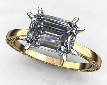suri ring - 1.75 carat emerald cut NEO moissanite engagement ring, east west ring
