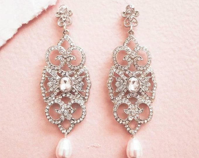 At Deco Gatsby Crystal Bridal Earrings with Swarovski Drop Pearl AMELIA