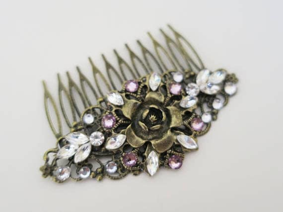 Antique bronze amethyst marquise hair comb