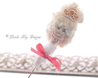 Marie Antoinette Pin  Stick Hat Hair Pin Small Lapel Stickpin Needle Felted Brooch Antique Doll Head Pin Broach Lorelie Kay Original