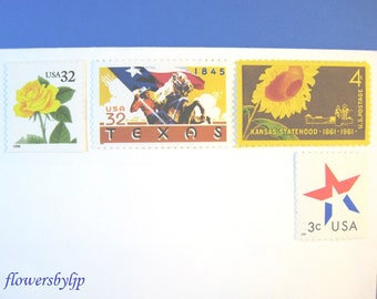 Texas Wedding Postage, Yellow Rose - Cowboy - Red White Blue Star - Sunflower Stamps, Mail 20 Wedding Invitations 2 oz 71 cent Dallas Austin