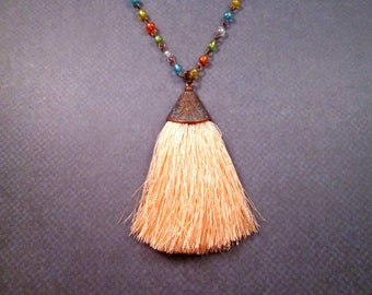 Tassel Necklace, Peach Rayon Tassel Pendant, Rainbow Glass Beaded Copper Chain Necklace, FREE Shipping U.S.
