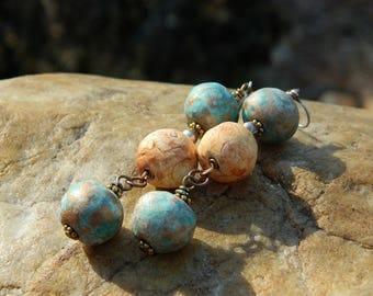 Earthy Stoneware Clay Bead Dangling Earrings