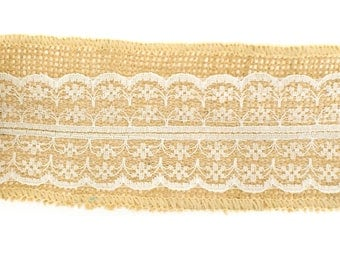 """DESTASH - 2.5"""" Burlap Ribbon with Ivory Lace - 1 pack (6 rolls - 2 yards per roll)"""