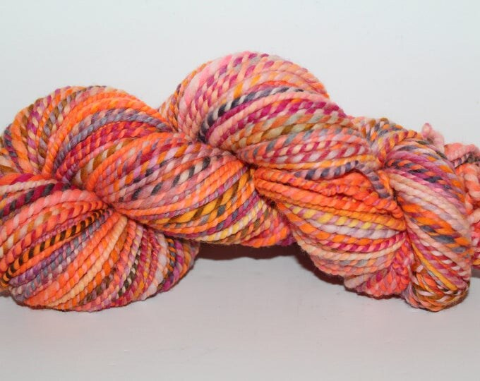 Handspun Merino Wool Yarn.  2ply Worsted Weight. Kettle Dyed. Super Fine Merino. 3.6oz 132yards