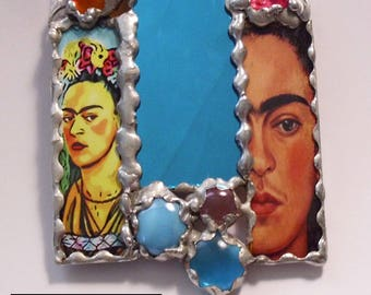 Frida Kahlo, stained glass suncatcher, mixed media art