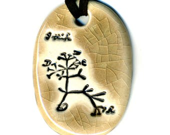Darwin Tree Ceramic Necklace in Mocha Crackle