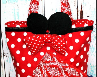Girl Mouse with Ears Minnie Bag Beach Tote and Zipper Wristlet Pouch Red polka dots Ready to Ship Vacations