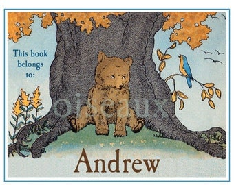 Bear & Bird Personalized Bookplates - Vintage Book Label, Baby Shower Gift, Father's Day Present, Story Time