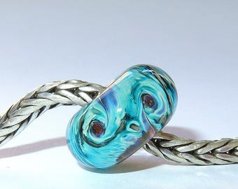 Luccicare Lampwork Bead - Nebula IV -  Lined with Sterling Silver