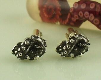 SALE SALE - Tentacle Jewelry, Octopus Jewelry, Silver Tentacle, OctopusME - Tentacle Knot Cufflinks