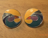 "80's Laurel Burch,Good Condition, Cloisonné Enamel Pierced , Vintage ""Harlequin Bird"" Large Round Disk Post"