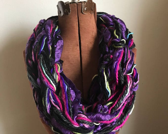 Purple Sparkles -  textured handknit bulky cowl, ready to ship, bulky lightweight warm oversized cowl