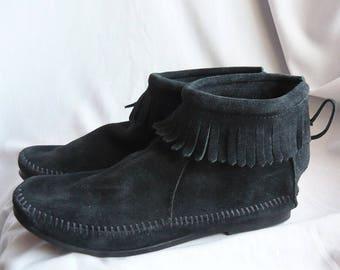 Vintage Fringe Suede Ankle Boots size 8  M/  MINNETONKA Black Zipper Back Moccasins / Eu 38 .5 UK 5 .5