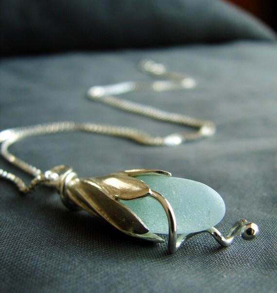Sea Lily beach glass necklace in soft aqua
