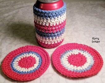 Patriotic Crocheted Cotton Drink Can Cozy Bottle Cozy Drink Coaster Set
