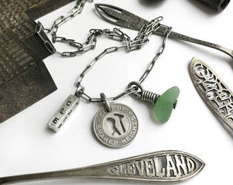 Sterling Silver CLE 216 Cleveland Shaker Heights Vintage Rapid Transit Train Token Seaglass Lake Erie Beach Glass Long Charm Necklace