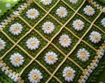 Crochet Baby Blanket for Pram, Buggy, Stroller, crib, bassinet, Baby Blanket, Daisy Pattern