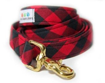 Buffalo Plaid Dog Leash, Red and Black Buffalo Check