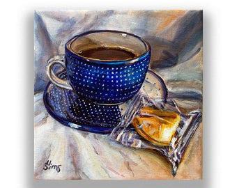 Boleslawiec pottery mug art print , coffee kitchen decor, coffee mug, Polish Pottery, kitchen art print , size mat option