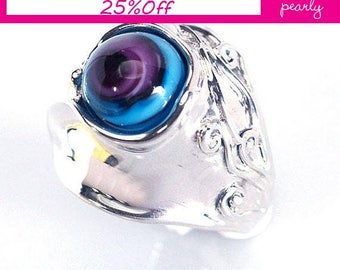 Silver Sterling 925 Ring -Circle Ring - Unique Blue and Pink ring -Lampwork Jewelry - Glass Bead Jewelry -Beadwork Jewelry - Beaded Jewelry
