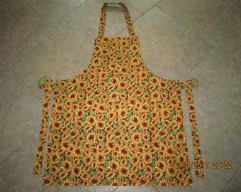 Sunflowers Cotton (green marble backing-no pockets) - Adult Sized Apron NEW