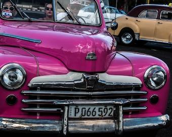 Vintage Cuban car photograph purple fuschia silver gray abstract photo classic car front Havana travel photography Cuban art original