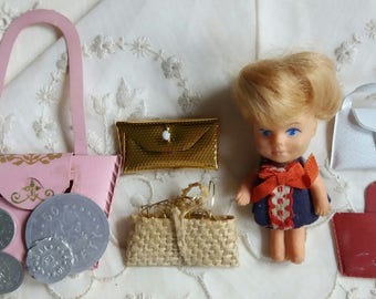 Vintage Tiny Doll with Purses..coins