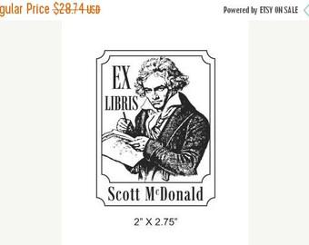 Super Summer Sale Beethoven Ludwig Van Portrait Ex Libris Bookplate Rubber Stamp H21