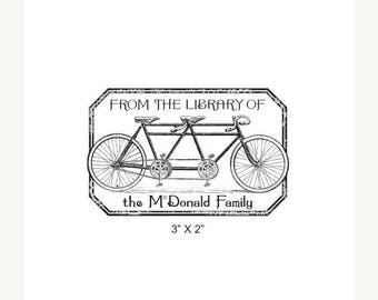 Xmas in July Tandem Bicycle Distressed Antique Frame Personalized Ex Libris Bookplate Rubber Stamp K15