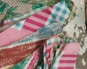 Large Lot Vintage Feed Sack Quilt Pieces FREE SHIPPING tnt