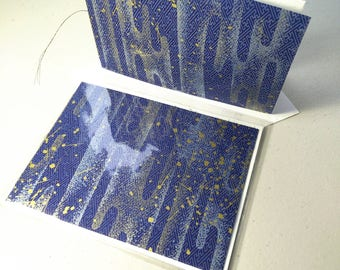 Handsewn Blank Card | Note card | Booklet with Inner Deckled Edge & Envelope | Washi Paper and Cotton Rag - blue and gold splatter