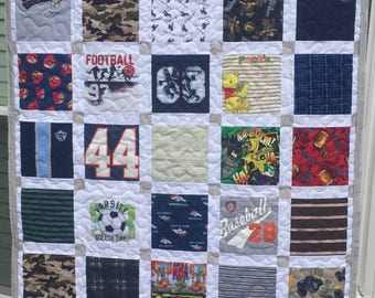 """Reserved for Heather BABY CLOTHES Quilt Heirloom Memory Quilt Custom Order 50"""" x 66"""" - Using Your Baby Clothes"""