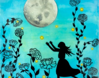 Print, Limited Edition, Catching Fireflies, mixed media encaustic