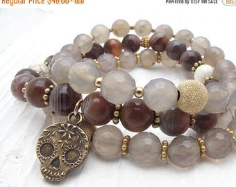 sugar skull bracelet, Anne Choi, gemstone bracelet, Botswana agate bracelet, gold, brown gemstone bracelet, gray agate, stacking bracelets
